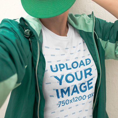 Selfie of a Girl Wearing Green Clothes and a Round Neck T-Shirt Mockup a16213