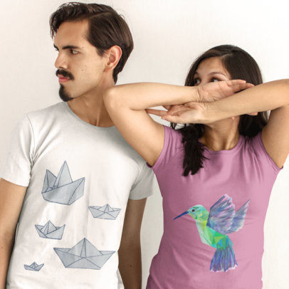 Two Friends Wearing Different Tshirts Mockup While Indoors a16215