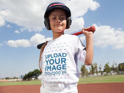 Baseball Uniform Designer - Happy Kid Posing with Youth Baseball Uniform a16369