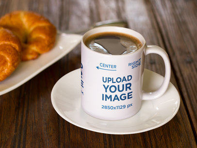 Coffee Mug Mockup with Chocolate Near Croissants a16460