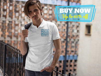 Hipster Man Wearing a Polo Shirt Mockup While Looking at the Camera a15376