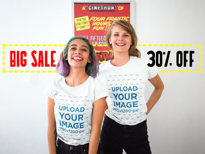 Two Pretty Girls Happily Wearing Round Neck Tees Mockup a16424