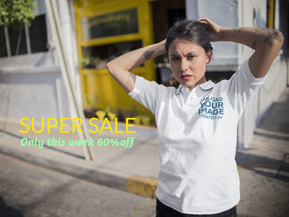 Girl Coming Out of a Hood Restaurant Wearing a Polo Shirt Mockup a15415