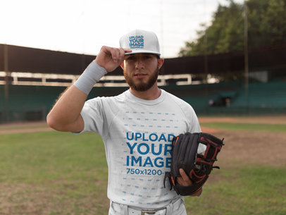 White Man Wearing a Baseball Hat Mockup After the Game a16237
