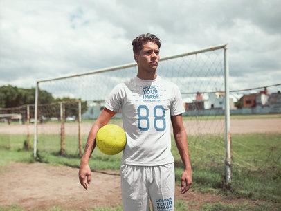 Custom Soccer Jerseys - Man Standing by Goal Posts