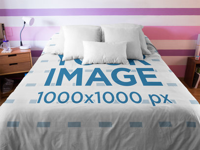 Front Shot of a Duvet Cover Mockup Inside a Girl Room a16406