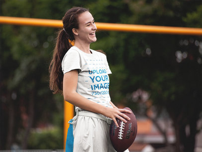 Custom Football Jersey - Happy Teen Girl Holding the Ball at the Field a16593