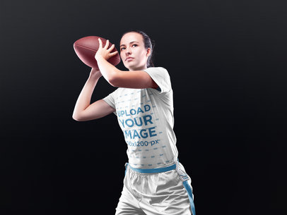 Custom Football Jerseys - Girl About to Throw the Ball a16596