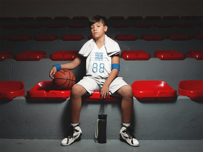 Basketball Jersey Maker - Boy Resting After Training a16621