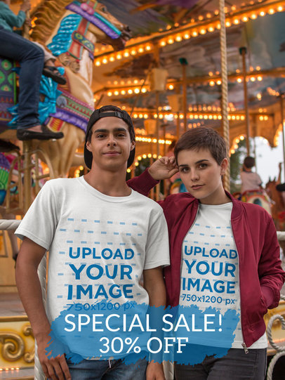 Instagram Ad - Young Couple Wearing T-Shirts Near a Carousel a16445