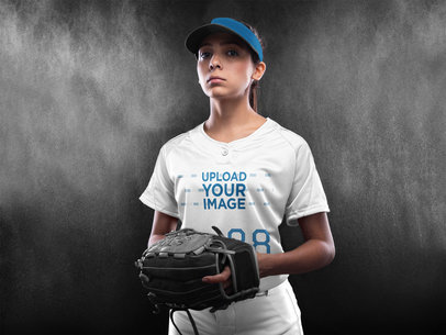 Custom Softball Jerseys - Woman Standing in the Studio a16695