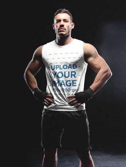 Portrait of a Man Standing in the Dark While Wearing Custom Sportswear Mockup a16797