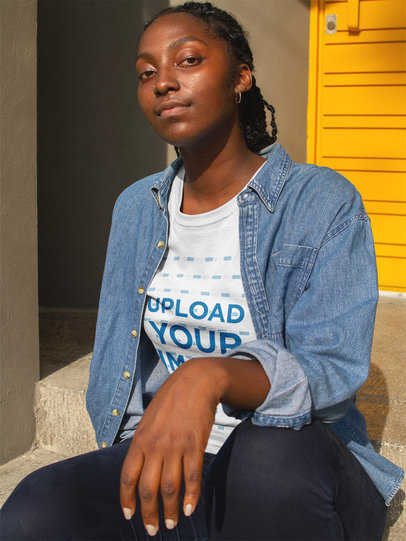 Black Girl with Attitude Wearing a T-Shirt Mockup While Near a Yellow Door a17321