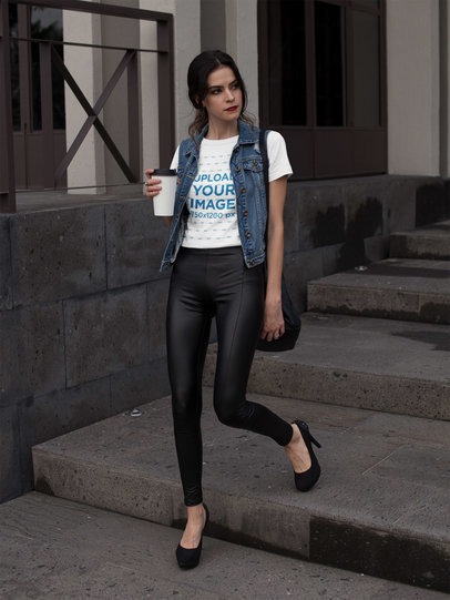 Fashion Girl Walking in the Morning Wearing a Round Neck Tee Mockup a17356