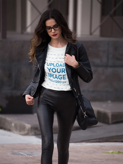 Beautiful Woman Wearing a T-Shirt Mockup While Going to Work a17357