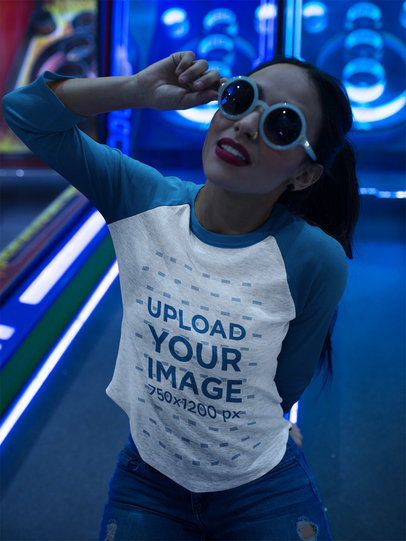 Girl Wearing a Raglan Tee Mockup While Playing with Sunglasses a17517
