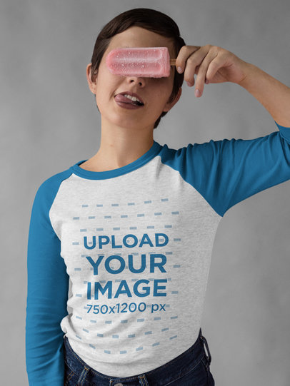 Girl Covering her Eyes with a Popsicle Wearing a Raglan Tee Mockup a17527