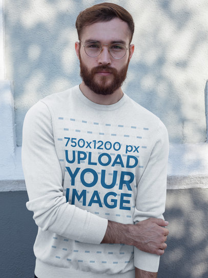 Ginger Man Wearing a Crew Neck Sweatshirt Template While Standing Against a White Wall a17730