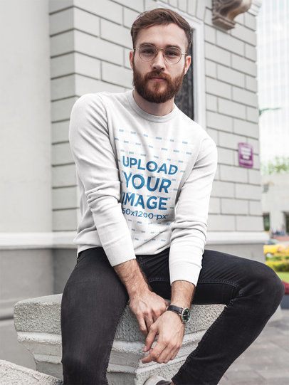 Bearded Man Wearing a Crew Neck Sweatshirt Template While Sitting Outdoors a17723