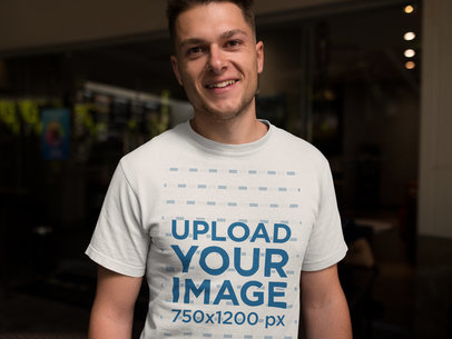 Smiling Dude Wearing a Tshirt Template While Looking to the Camera a17857