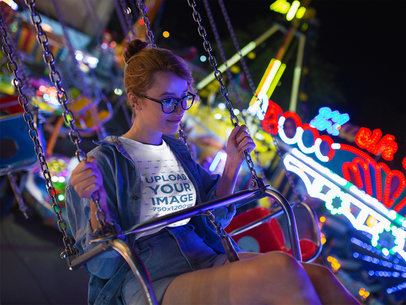 Beautiful Girl Wearing a Tshirt Template Having Fun in a Mechanical Game a17881