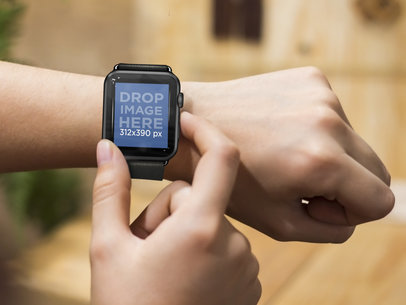 Close-up of Man Using his Black Apple Watch Outdoors Mockup Template