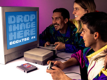 Nintendo NES Mockup Template of a Gaming Family