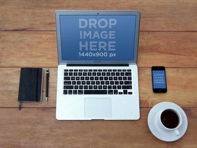 MacBook Vs iPhone Wooden Table