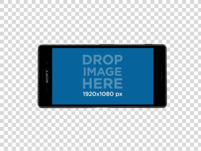 Sony Xperia Z5 in Landscape Position Over a PNG Background Mockup a11469