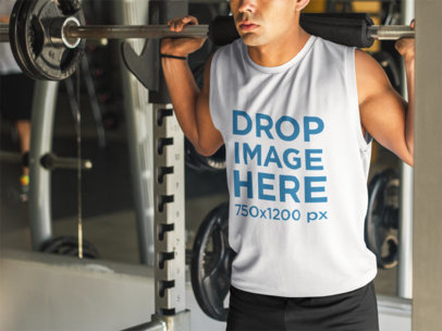 Tank Top Mockup of Young Man at the Gym a8153