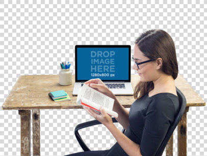Macbook Pro Mockup Over a Wooden Desk Featuring a Woman Reading a11685