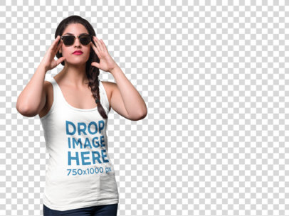 PNG Mockup of a Young Woman Wearing a Tank Top and Sunglasses a9124