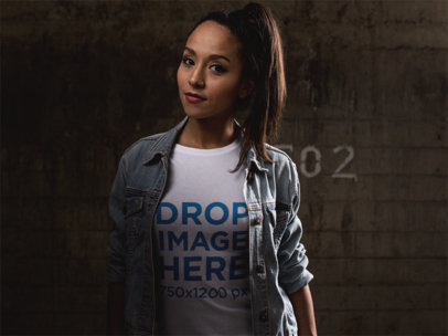 Tee Mockup of a Girl Wearing a Denim Jacket at Night a11739