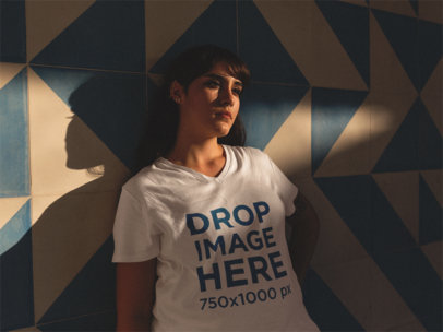 V-Neck Tee Mockup of a Hipster Girl Leaning Against a Wall a12080