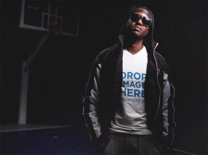 Basketball Style Guy Wearing a V-Neck T-Shirt Mockup a12158