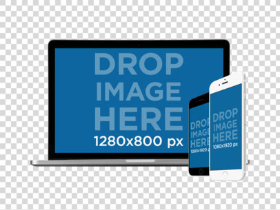 MacBook Pro with iPhone and iPhone Plus in Angled Position PNG Mockup a11921