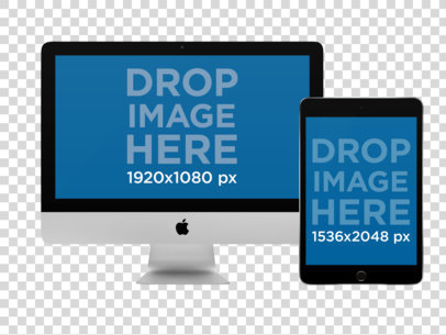 iMac and iPad Mockup in Portrait Position Over a PNG Background a12317