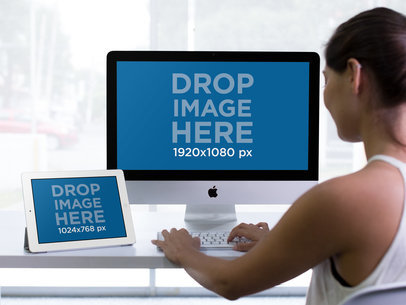iMac and iPad Mockup Featuring a Woman Working at her Desk a12368