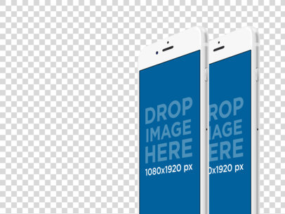 Two iPhone Plus in Angled Portrait Position Over a PNG Background Responsive Mockup a12394