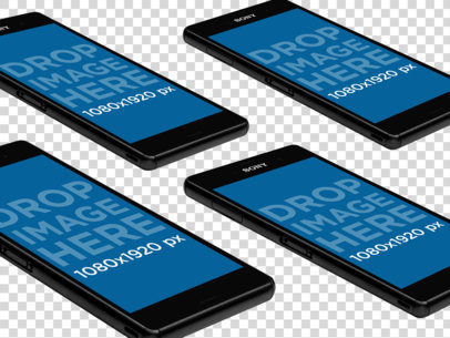 Android Phones Over a Surface PNG Mockup a12550