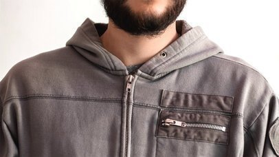 Stop Motion Of A Young Hipster Man That Opens His Hoodie Chest Pocket And Takes Out A Business Card Mockup a13782