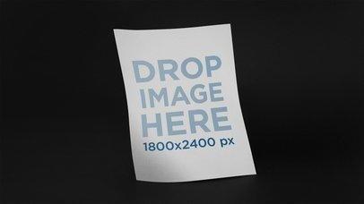 Floating Flyer Over Black Background Stop Motion Mockup a13634