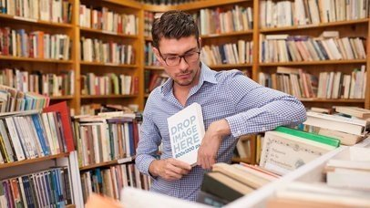 Stop Motion Of A Guy At The Library Holding A Book Mockup a13854