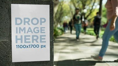 Flyer Glued To A Concrete Wall In A University Mockup Video a13891