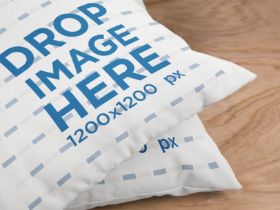 Closeup Template of a Pair of Pillows Lying on a Wooden Surface a15121