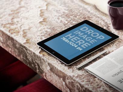 Apple iPad Portrait On Marble Table