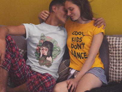 Couple in Their House Wearing Different Tshirts Mockup Against a Yellow Wall a15583