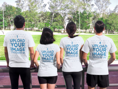 Back of Four Friends Wearing Different Tshirts Mockup While Looking at a Park a15660