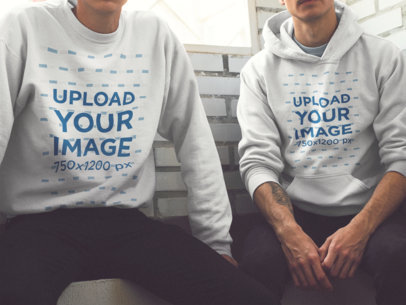 Cropped Faces Men Wearing a Crewneck Sweatshirt and a Pullover Hoodie Mockup with Different Designs a15639