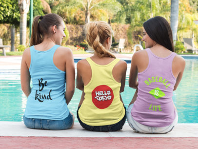 Back of Three Girls Wearing Tank Tops Template with Different Designs a15691